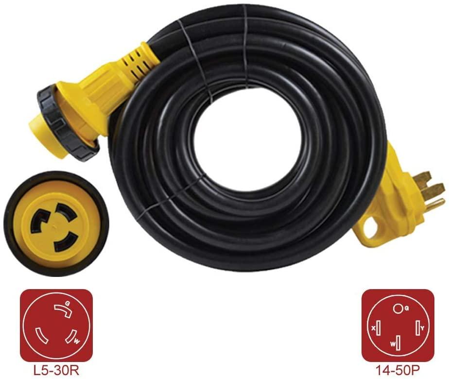 Superior Electric RVA1583 RV Extension Cord 10AWG/3-50 Amp Male NEMA 14-50P to 30 Amp Female NEMA L5-30R, Length 25ft