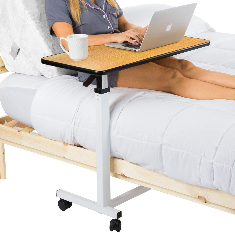 Vive Overbed Table (XL) - Hospital Bed Table - Swivel Wheel Rolling Tray - Adjustable Over Bedside Home Desk - Laptop, Reading, Eating Breakfast Cart Stand - Bedridden, Elderly, Senior Patient Aid