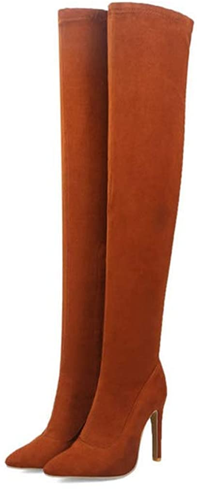 Yakoya Ladies Autumn Over The Knee Boots Suede Leather Zipper High Heels Sexy Shoes Women
