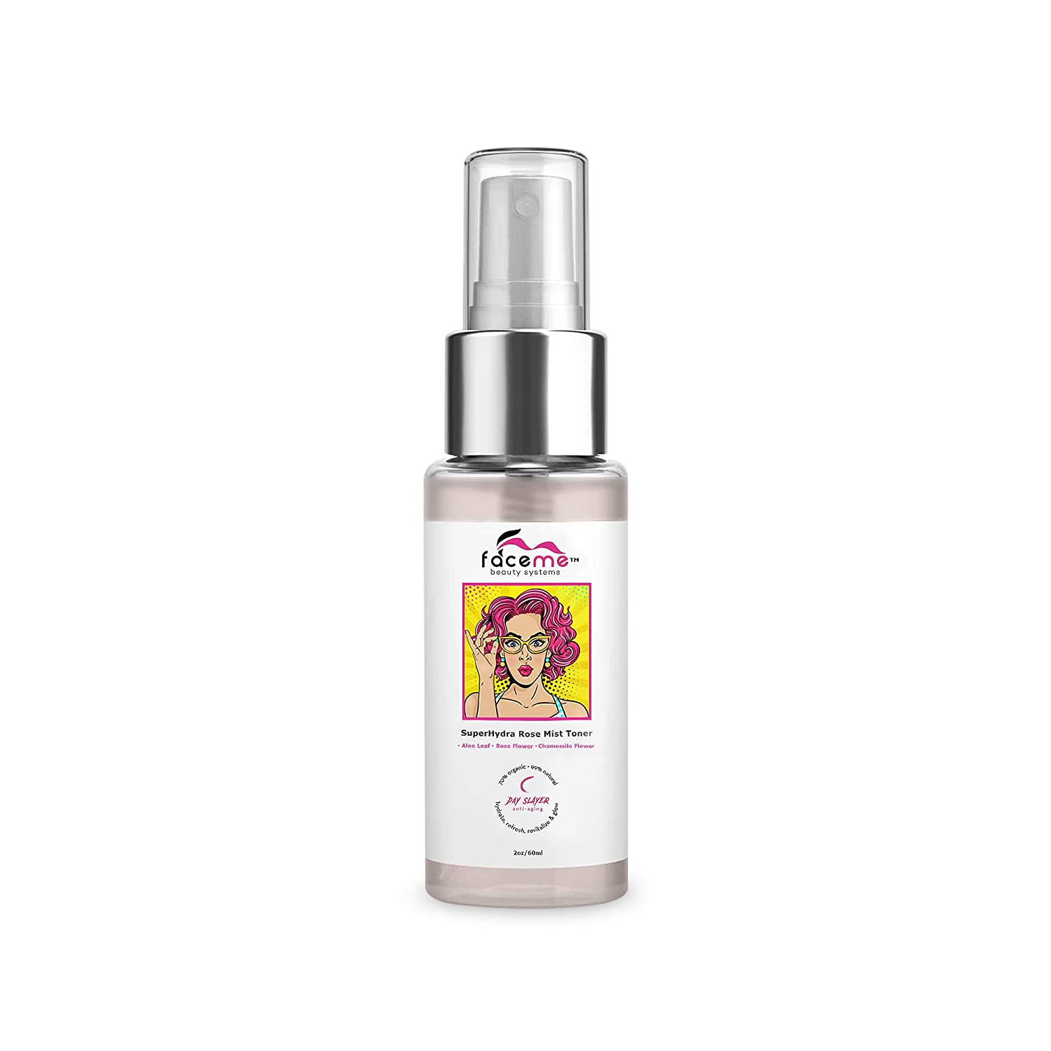 FACEME Rose Water Facial Toner - Face Mist with Witch Hazel and Aloe Vera - Alcohol-Free Rosewater Face Toner Spray - Organic Rose Petals Face Spray - Refresh & Tone on-the-Go, 2oz