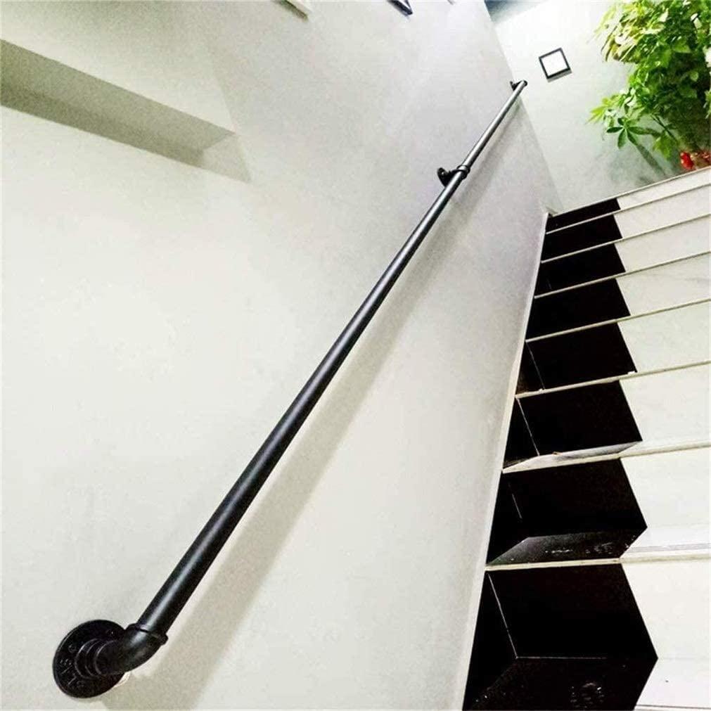Metal Wrought Iron Stair Handrail External Outside Handrail, Industrial Wind Black Water Pipe Handrail, 30-600cm 0814 (Size : 390cm)