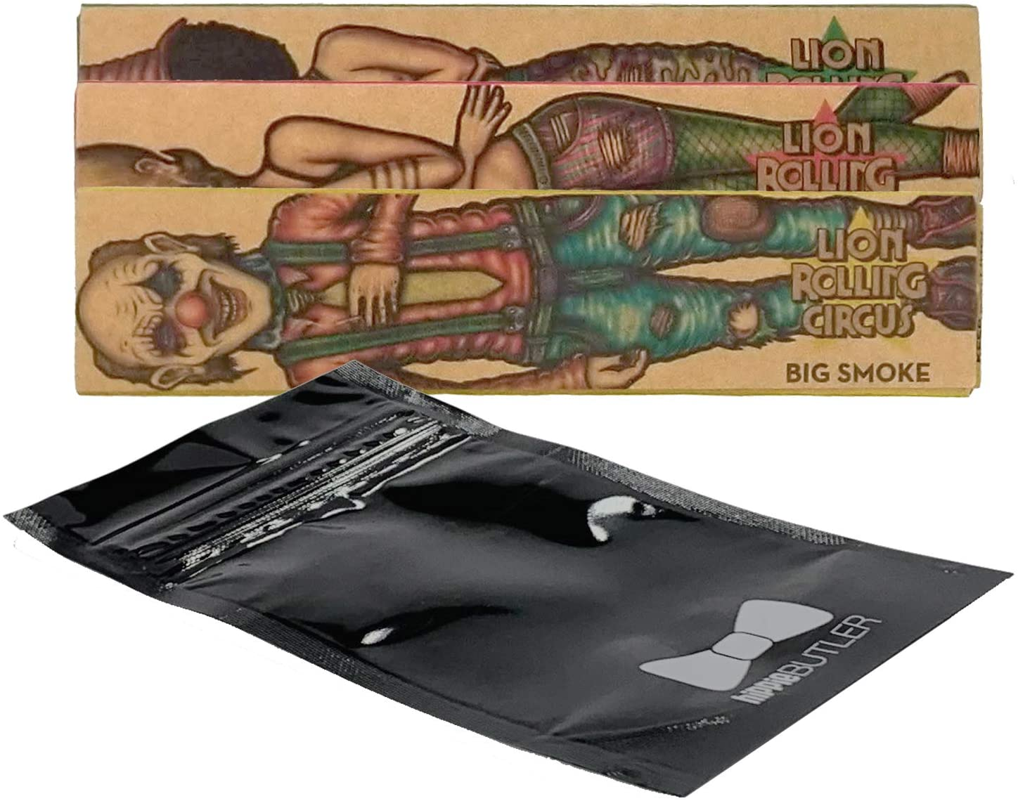 Lion Rolling Circus Unbleached King Size Rolling Paper (3 Packs) with Hippie Butler Smell Proof Pouch