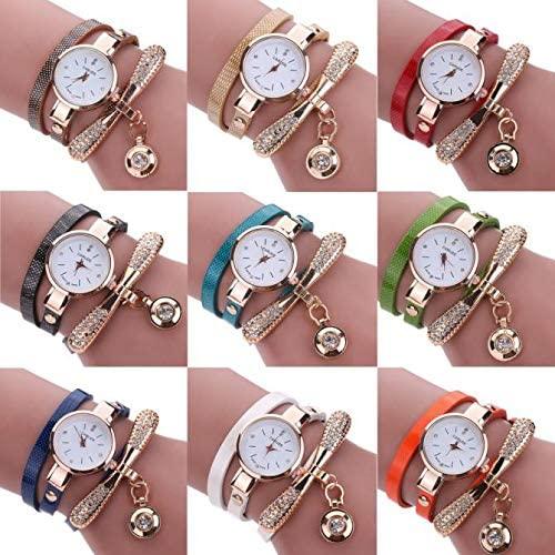 Women Watch, Womens Gift Leather Rhinestone Rivet Chain Quartz Bracelet Wrist Watch