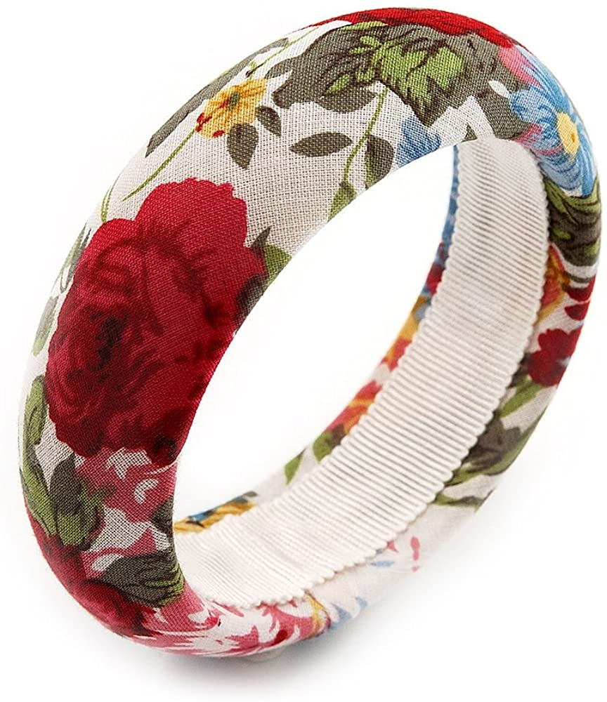 Avalaya Floral Fabric Bangle Bracelet -18cm Length