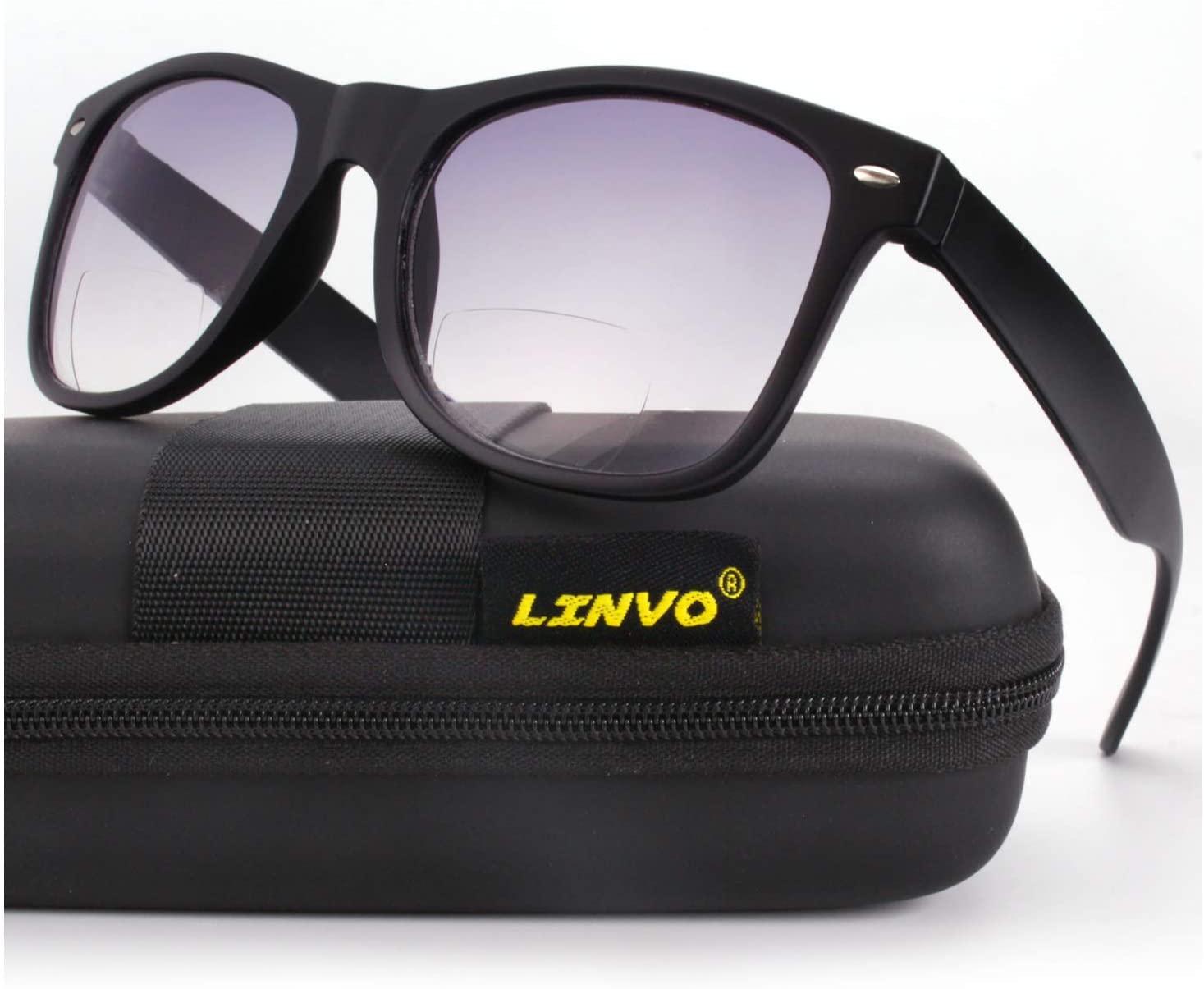 LINVO Bifocal Reading Sunglasses Classic Horn Rimmed Outdoor Sun Readers Men Women