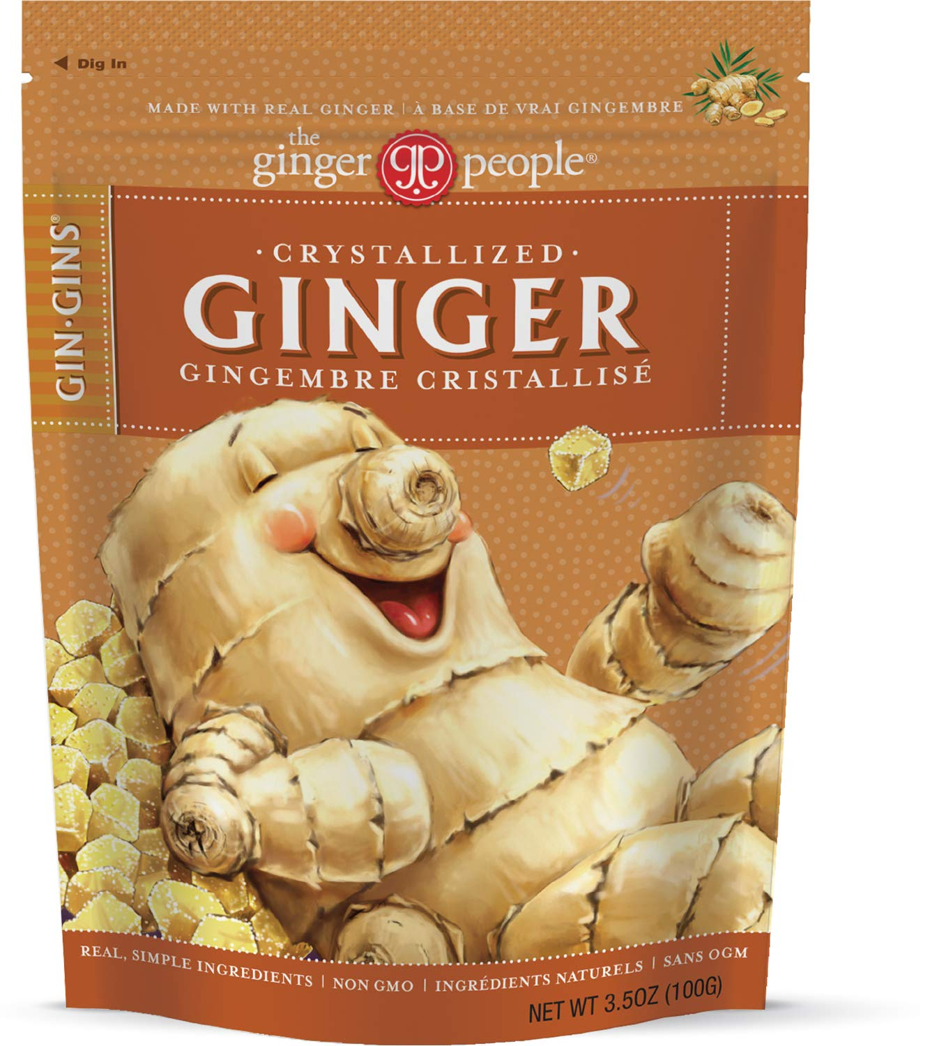 The Ginger People Gin Gins Crystallized Ginger Candy, 3.5 Ounce, Pack of 12