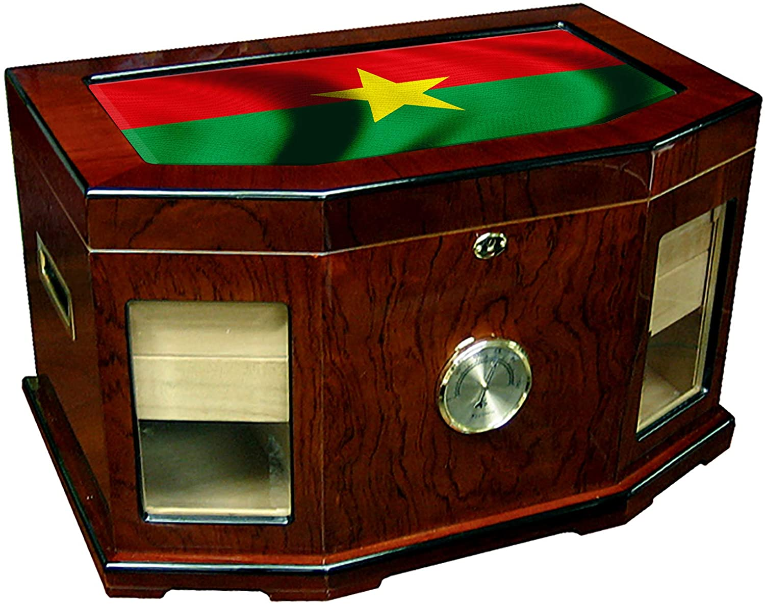 Large Premium Desktop Humidor - Glass Top - Flag of Burkina Faso (Burkinabe) - Waves Design - 300 Cigar Capacity - Cedar Lined with Two humidifiers & Large Front Mounted Hygrometer.