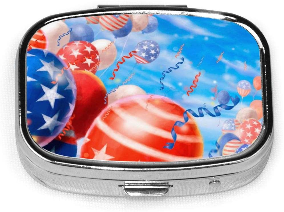 Pill Organizer Pill Box USA Independence Day Pill Cases for Purse Dispenser Container Planner Medicine Outdoor for Sorter Daily Pillbox