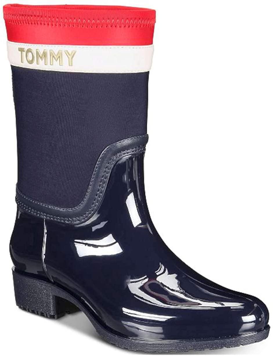 Tommy Hilfiger Womens Float Fabric Almond Toe Mid-Calf Rainboots