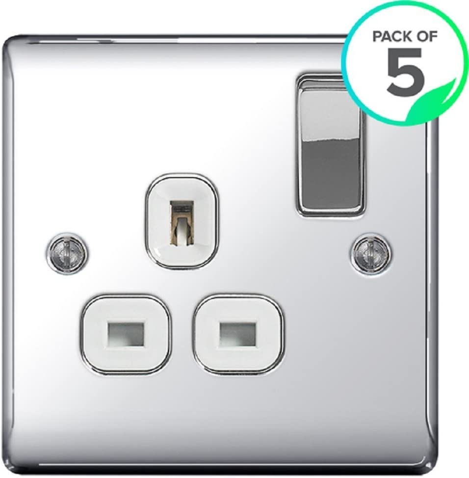 Pack of 5 x BG-Nexus-Metal Single 13A Plug Socket, Polished Chrome Finish,White Inserts