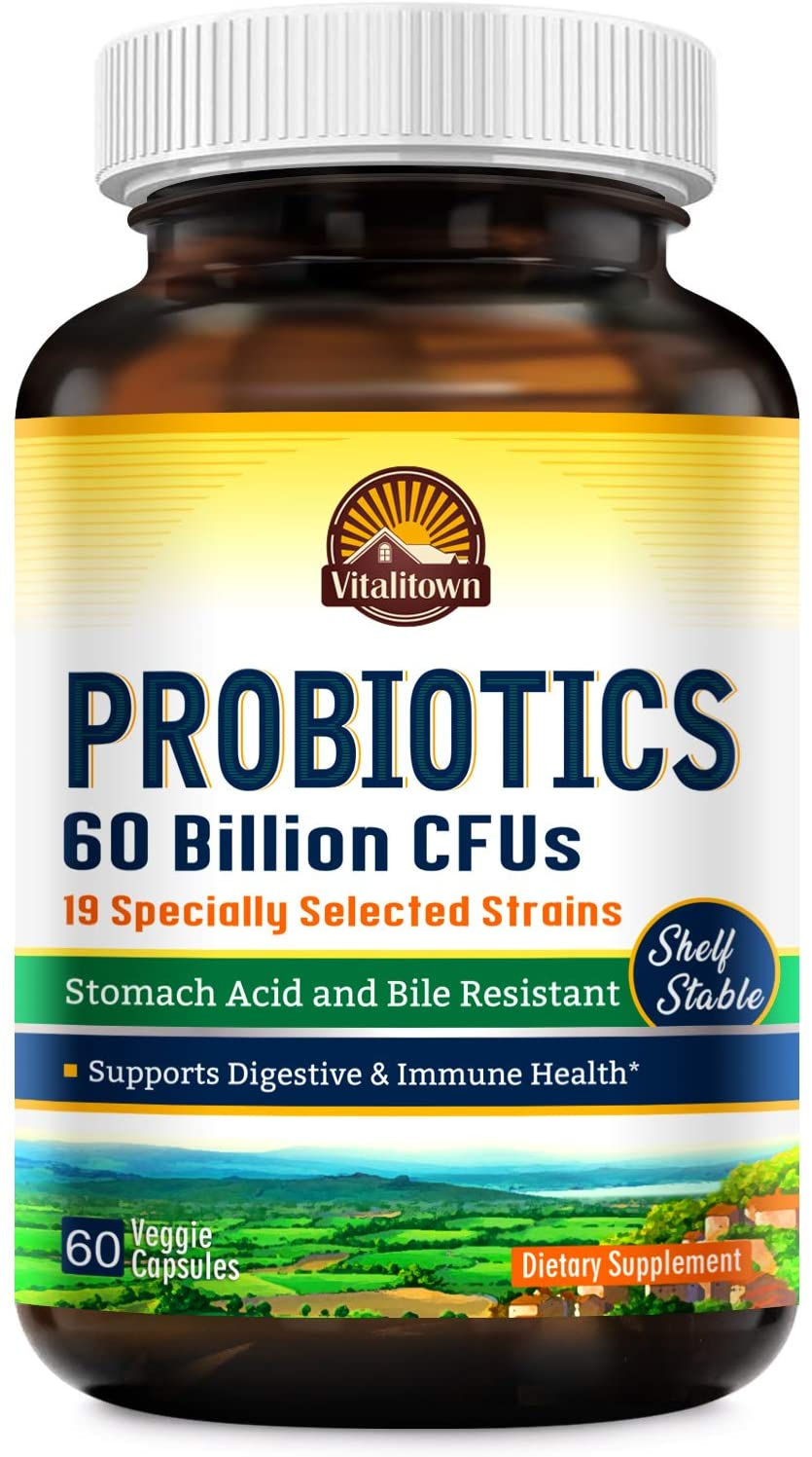 Vitalitown Probiotics + Prebiotics | 60 Billion CFUs 19 Strains | 60 Delayed Release Veg Caps | Shelf Stable, Stomach Acid & Bile Resistant | Digestive & Immune Support | Vegan, Non-GMO, Dairy Free