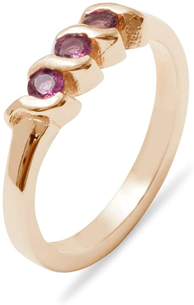 Solid 18k Rose Gold Natural Pink Tourmaline Womens Trilogy Ring - Sizes 4 to 12 Available