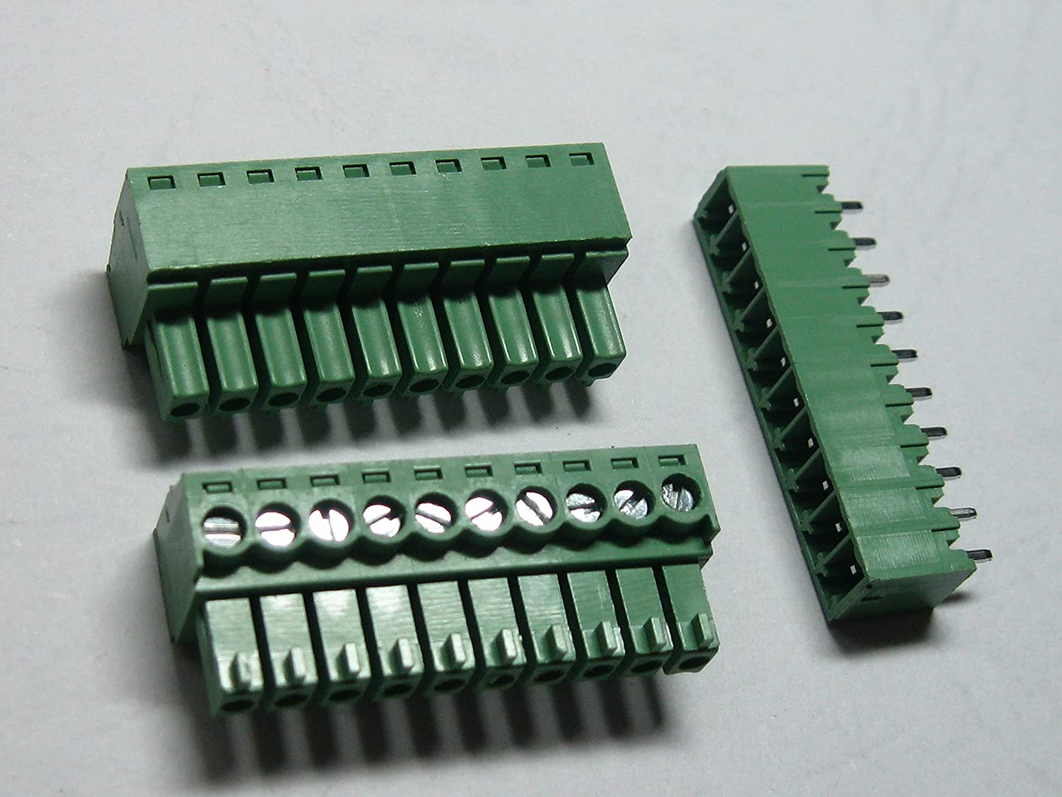 40 pcs straight-pin 10pin/way Pitch 3.81mm Screw Terminal Block Connector Green Color Pluggable Type with pin