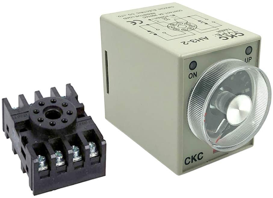 Woljay AH3-2 Time Delay Timer Relay Solid State AC 220V 8 Pins 0-60Min with Socket