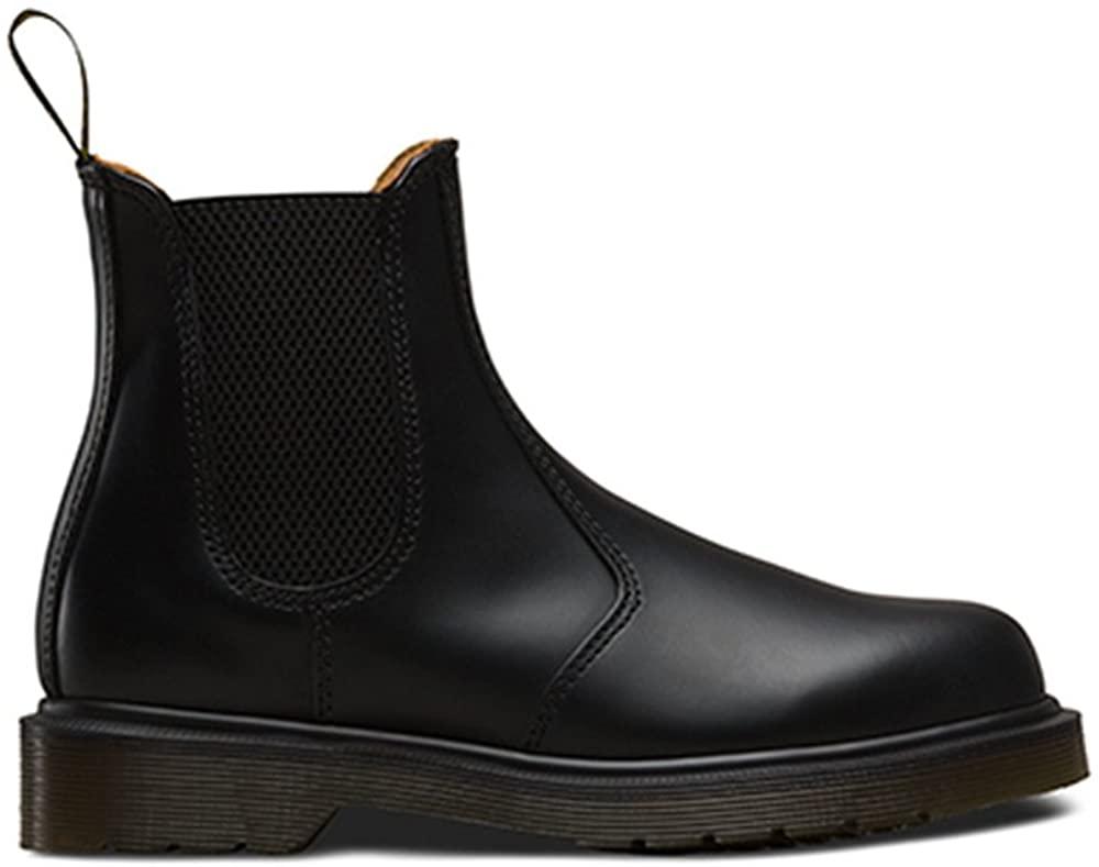 DOC Women's Men's Fall/Winter Unisex Classic Short Ankle Chelsea Black Smooth Leather Boots, Waterproof Booties, Elastic Design Slip On, US Women 11/US Men 10