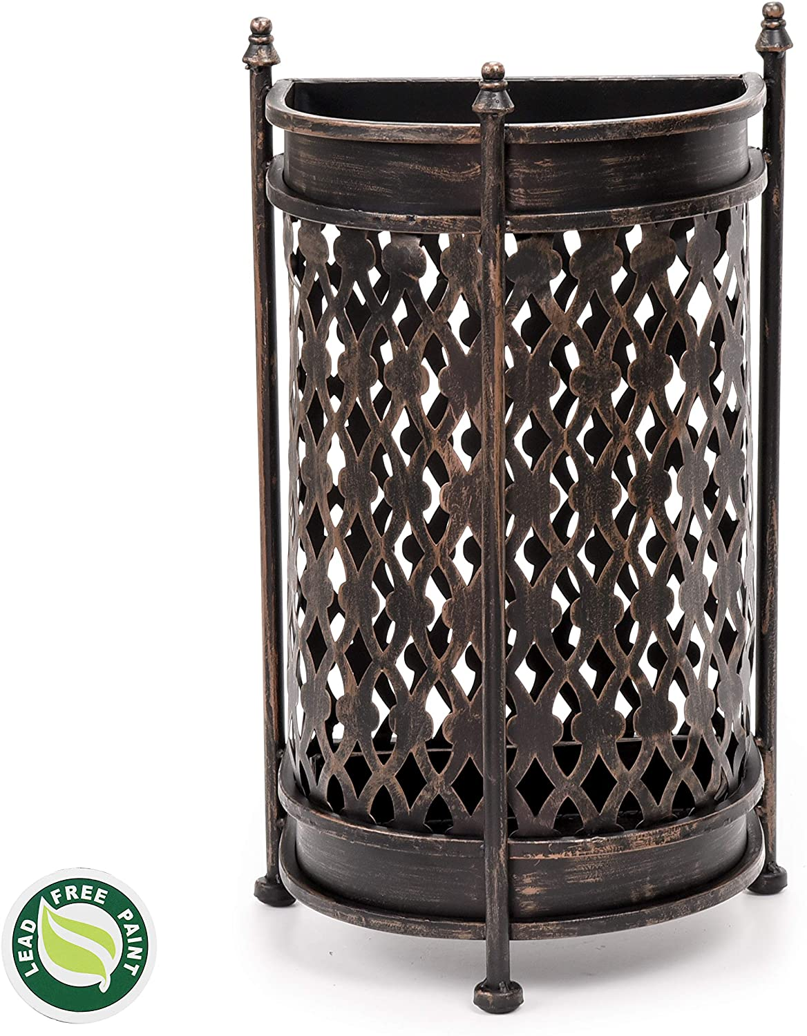 Dualplex Super Quality Umbrella Stand, Umbrella Holder, Antique Look Metal, Entry Hallway Décor, Wallside Style, w/Removable Drip Tray. Home, Office Decoration Rack Holds Umbrellas Canes Walking Stick