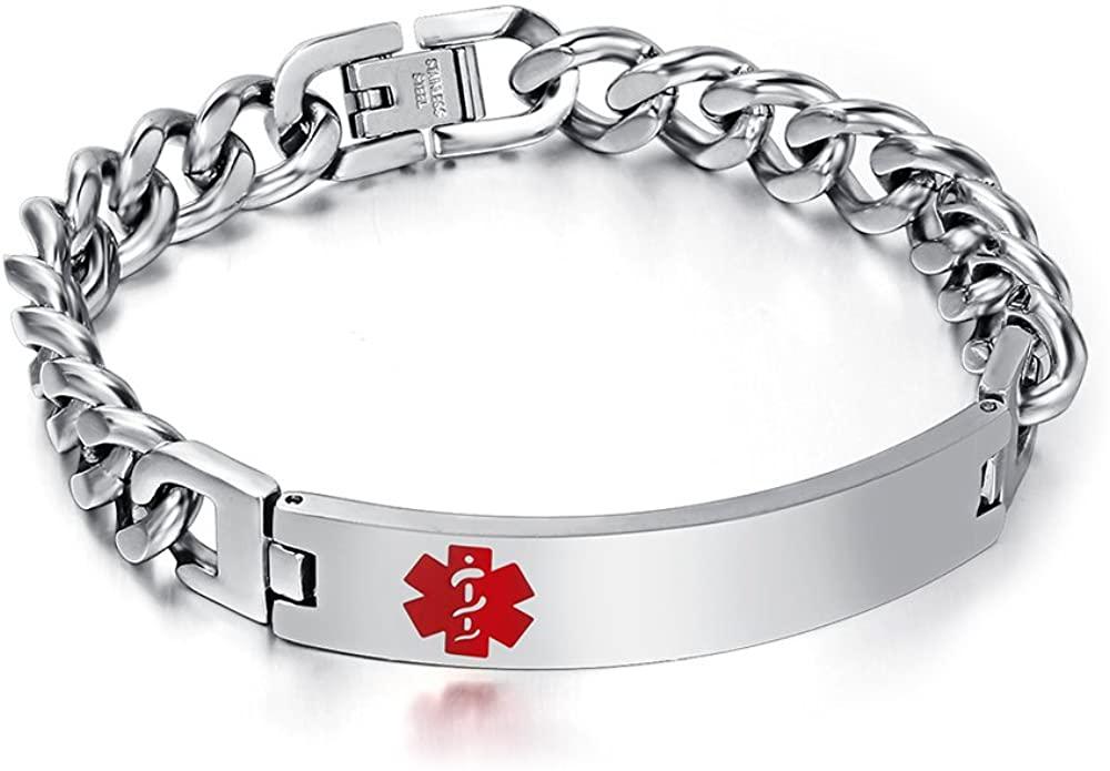 VNOX Free Engraving 10mm Stainless Steel Medical Alert ID Bracelet for Women,Silver,8
