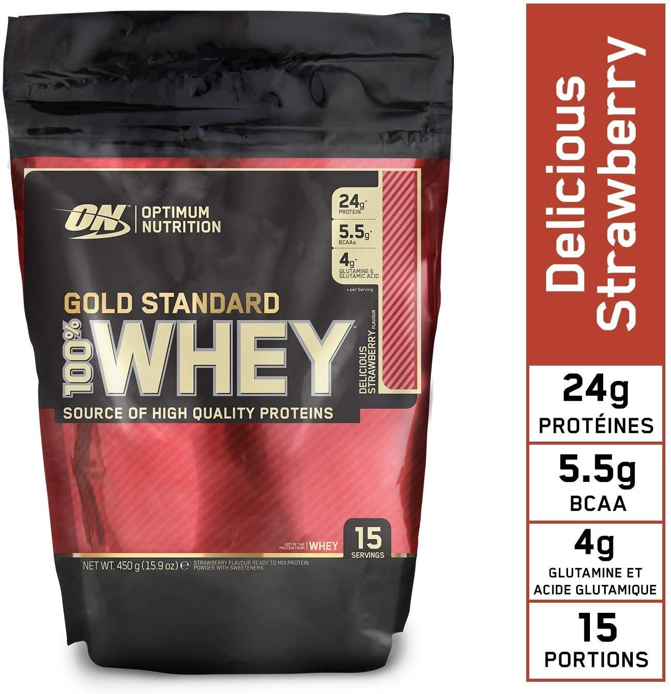 Optimum Nutrition 100% Gold Standard Whey Protein Powder Delicious Strawberry 450G