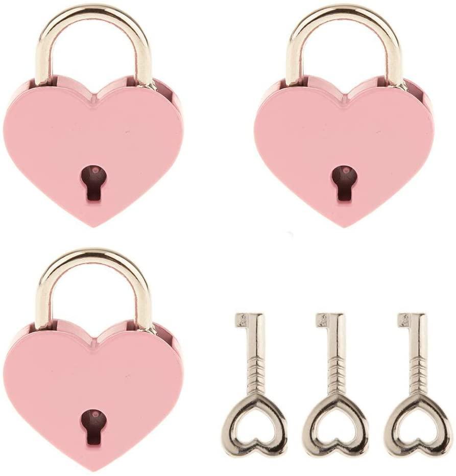 3 Pcs Small Metal Heart Shaped Padlock Mini Lock with Key for Jewelry Storage Box Diary Book,Pink