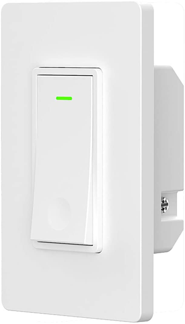 Smart light switch,smart WiFi light switch 10A with remote control and timer,Compatible with Alexa,Google home and IFTTT,easy installation and safe (1 Gang)