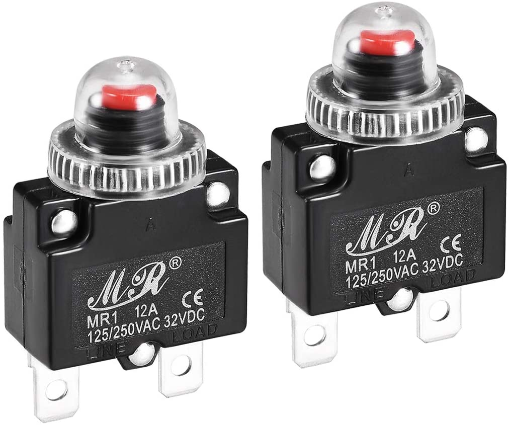 uxcell Thermal Circuit Breakers 12A 125/250V AC 32V DC Push Button Reset Overload Protector Switch with Waterproof Cap 2 Pcs
