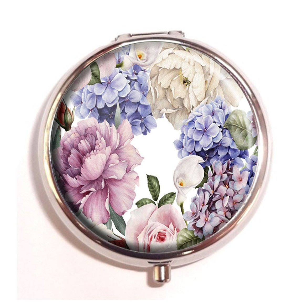 LCTCKP Floral with roses Custom Fashion Hot Round Pill Box Decorative Metal Western Medicine Tablet Container Box