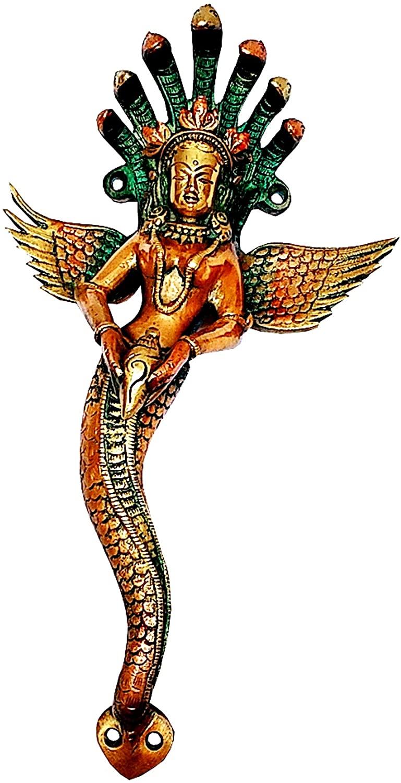 Purpledip Brass Handle Serpent Snake Goddess Nag Kanya; Magnificent Grip for Doors or Windows (11744)