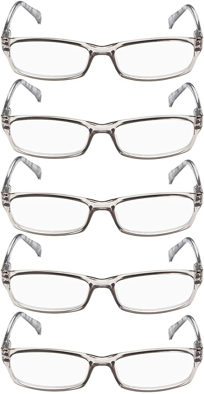 Ladies Reading Glasses 5 Pairs Pattern Design Readers Women Reading Eyeglasses (Grey, 2.50)