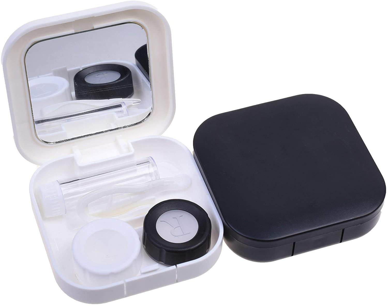 Cosmos 2 Pcs Simple Contact Lens Travel Case Contact Lenses Box Container Holder Kit with Mirror
