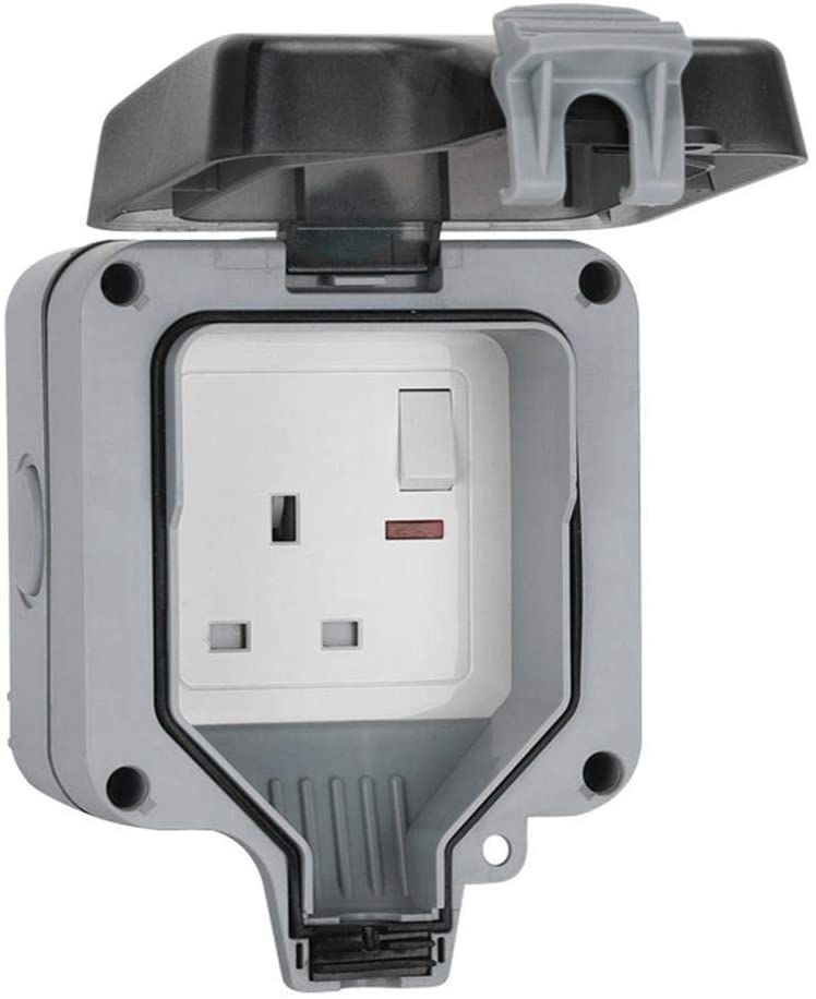 Waterproof Socket, Outdoor Sockets Waterproof Wall Outlets, IP66 Switched Socket Cover, UV-Resistant Weatherproof Electrical Outlet with Transparent Cover Plug Box
