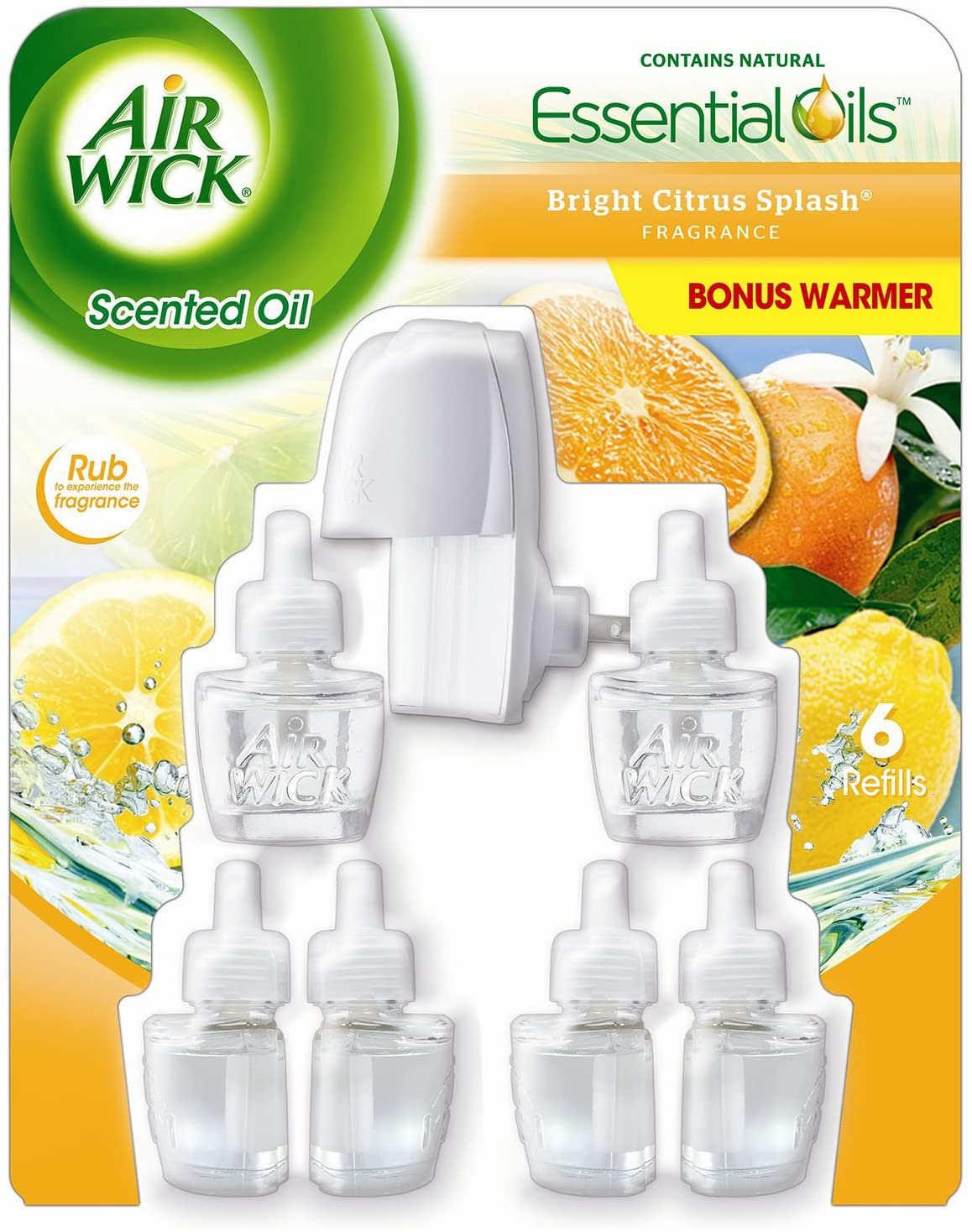 Air Wick Scented Oils - Bright Citrus Splash - Warmer & 6 Refills