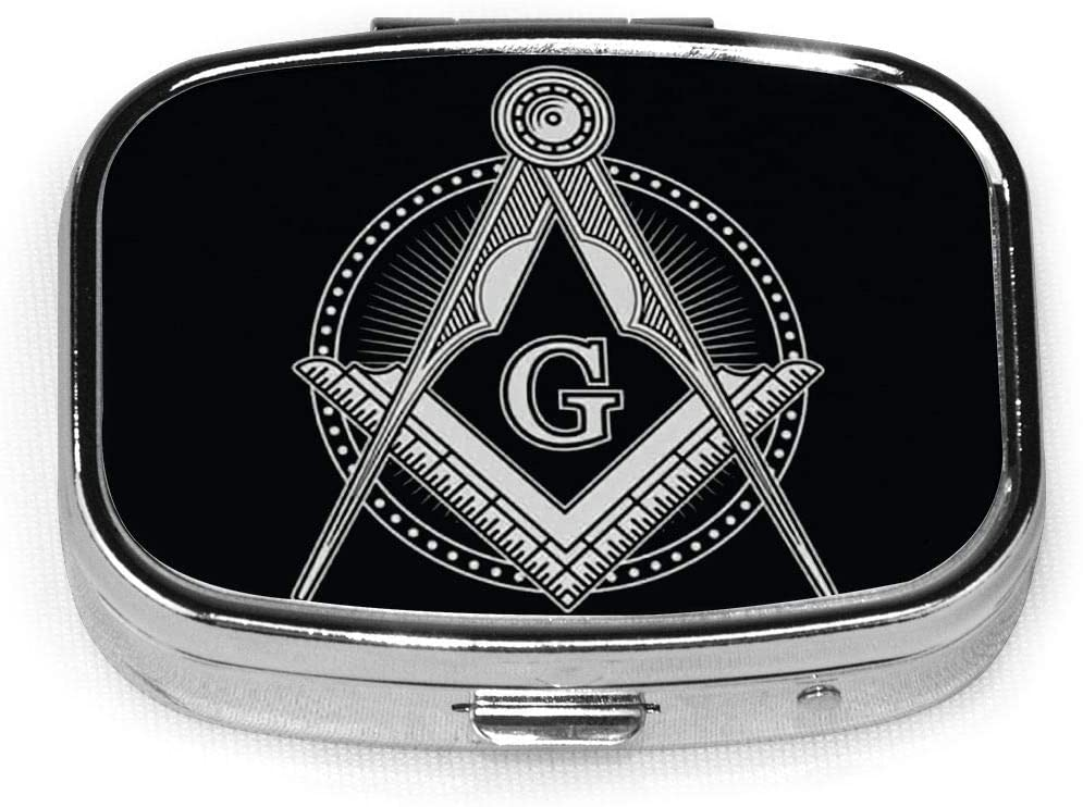 Wehoiweh Masonic 2.2x1.6x0.7 Inch Mini Medicine Box, Full Size Printing is Easy to Carry