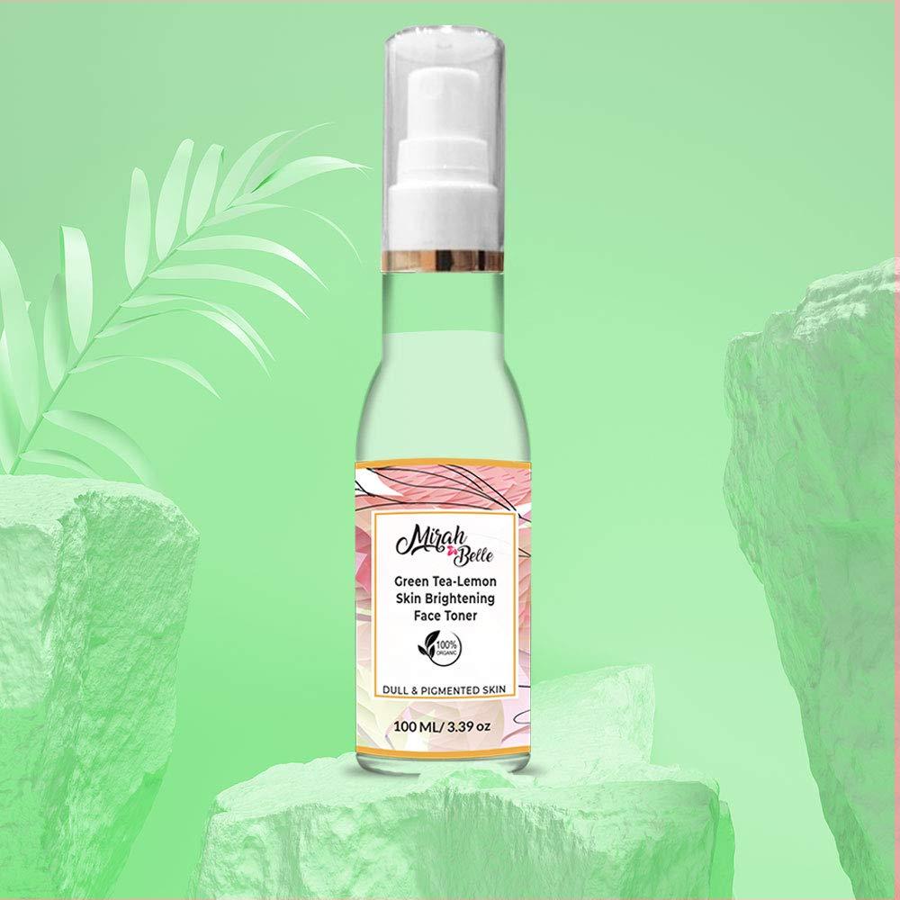 Mirah Belle - Green Tea, Lemon - Skin Brightening Face Toner - Clenses Pores, Removes Blackheads, Evens Skin Tone - Alcohol and Paraben Free - 100 ml