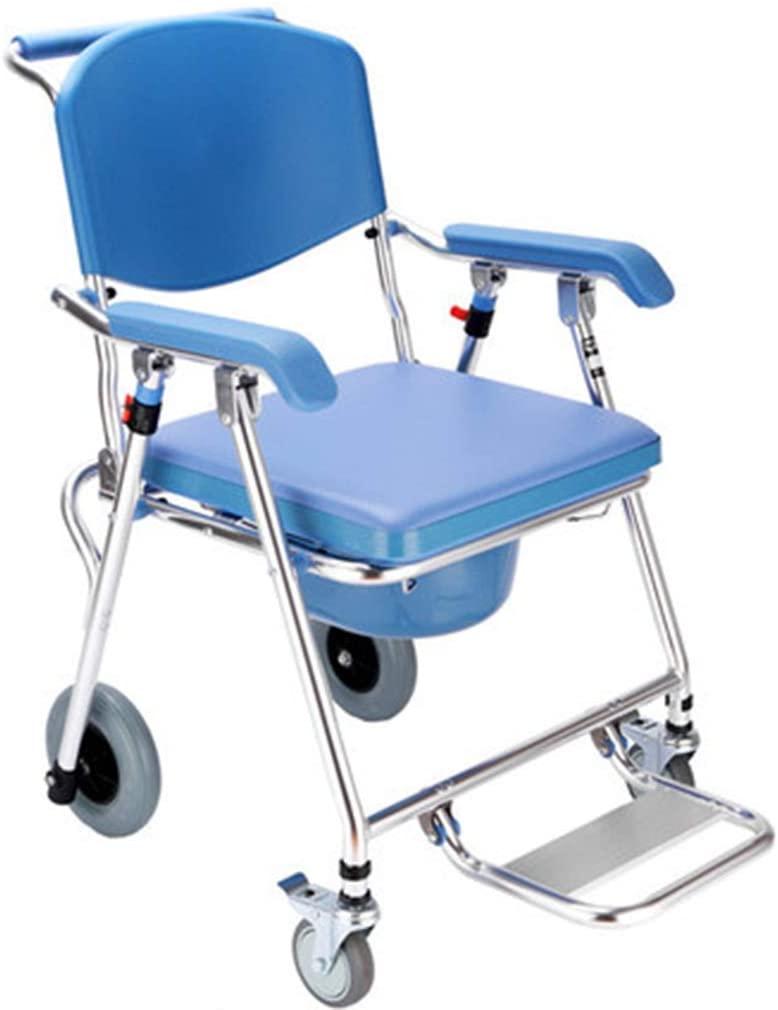 KMMK Medical Bedside Commodes,Bedside Rolling Toilet Seat Stool, Folding Shower Wheelchair, Durable Commode Chair, Medical Waterproof Bath Stool, for Elderly Grandparents,B