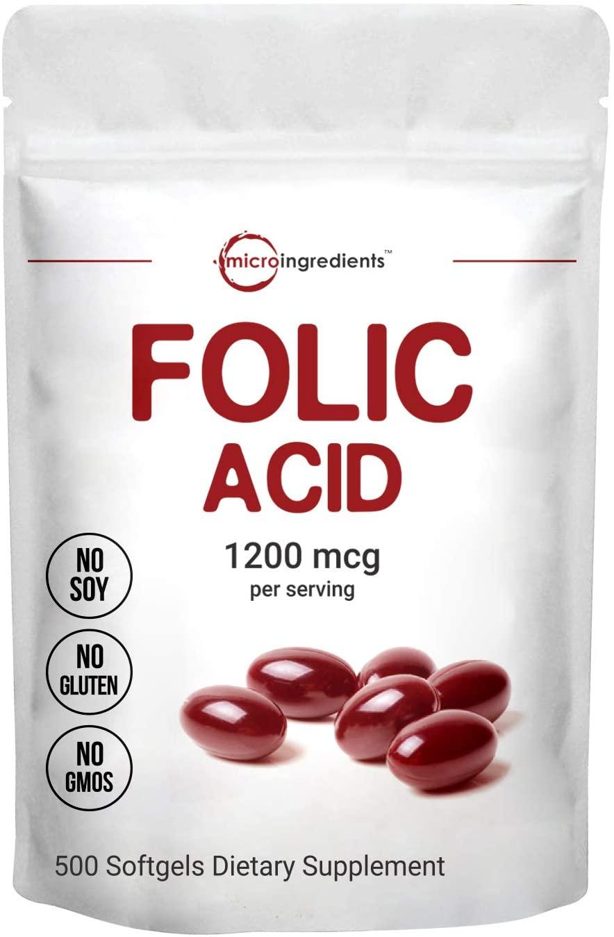Micro Ingredients Folic Acid 1200mcg, 500 Softgels, Premium Folic Acid Vitamin, Supports Heart Health and Prenatal Development, Non-GMO and Gluten Free