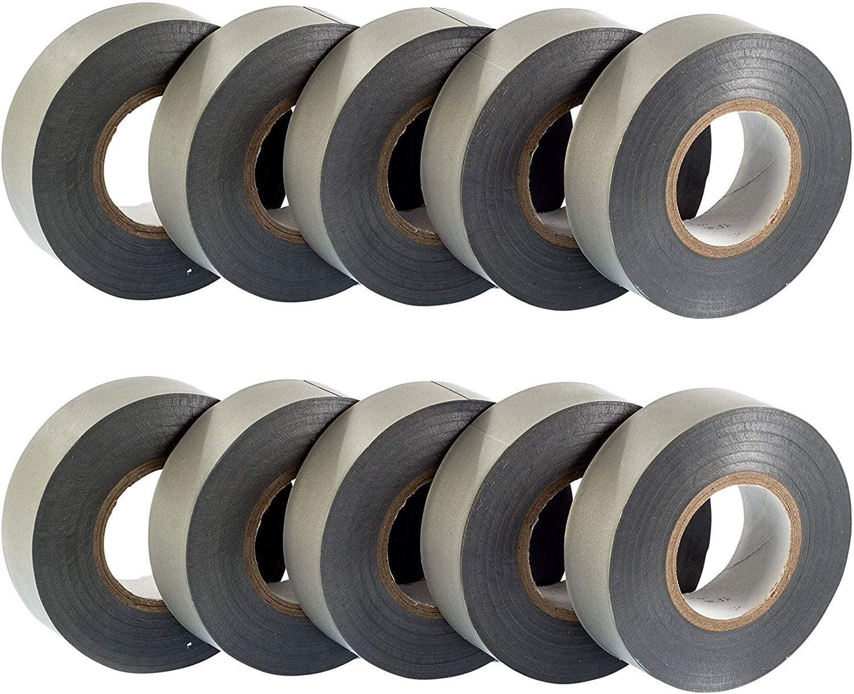 GTSE 10 Rolls Of Silver/Grey Pvc Electrical Insulation Tape - 20M X 19Mm - Premium 10 Roll Bulk Pack Tape