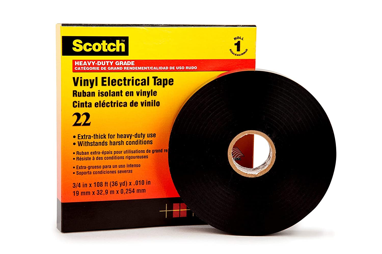 Scotch Vinyl Electrical Tape 22, 1 in x 36 yds, 12 rolls/carton, Black