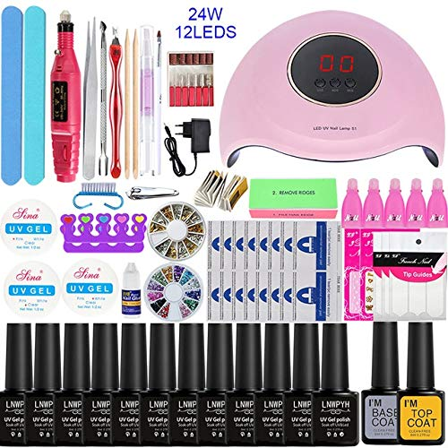 Nail art kit, Automatic Nail Uv Light,dry Gel Manicure Kit With Uv Light for Almost All Nail Glue Led Gel, Uv Gel, Including Hard Gel, Building (Color : 24W select 12 color)