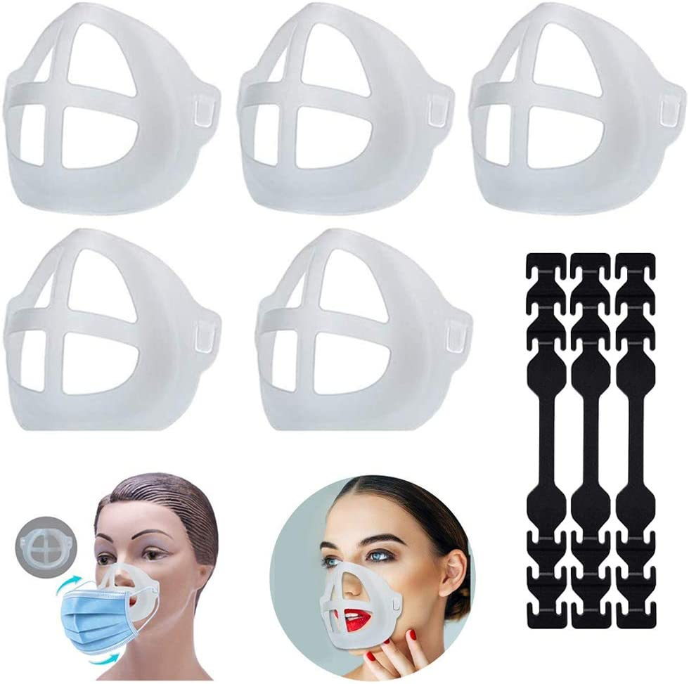 3D Bracket Lipstick Protection for Mask - Mask Bracket- Mask Holder Stand-Mask Inner Support with Silicone Extender Straps