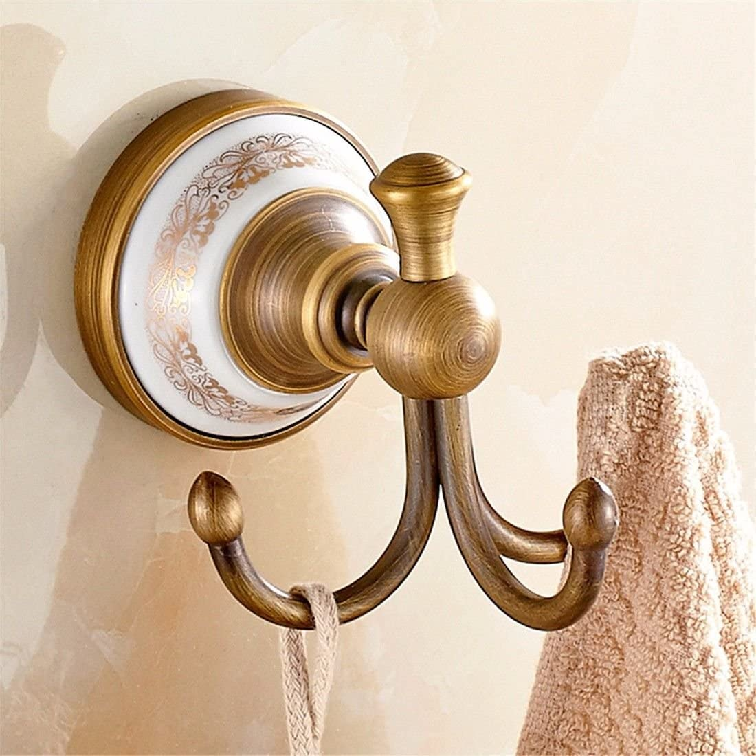 AiRobin-Continental Brass Antique Brushed Ceramic Base Robe Hook Bathroom Accessory