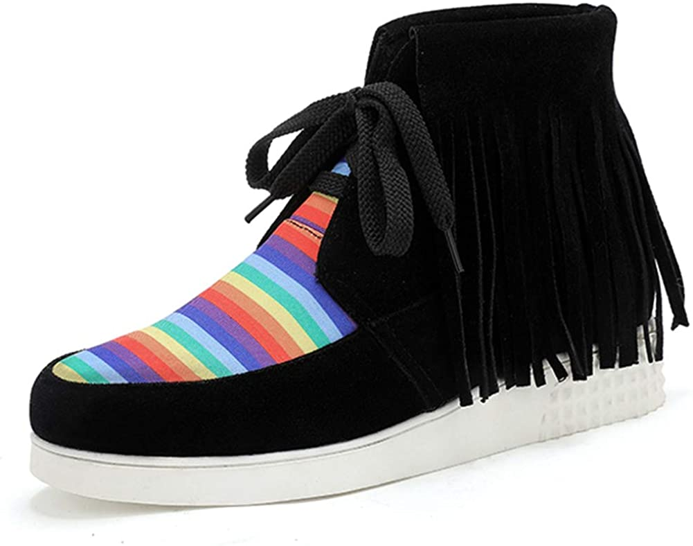 SaraIris Comfortable Cowboy Cowgirl Driving Moccasins for Women Fashion Fringed Rainbow Sneakers Walking Shoes Loafers