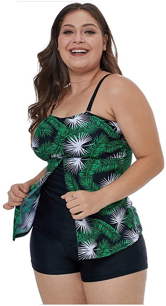Aechnnei Swimsuits for Women Plus Size Printed Patterns Tankini High Waist Two-Pieces Sexy Bikini