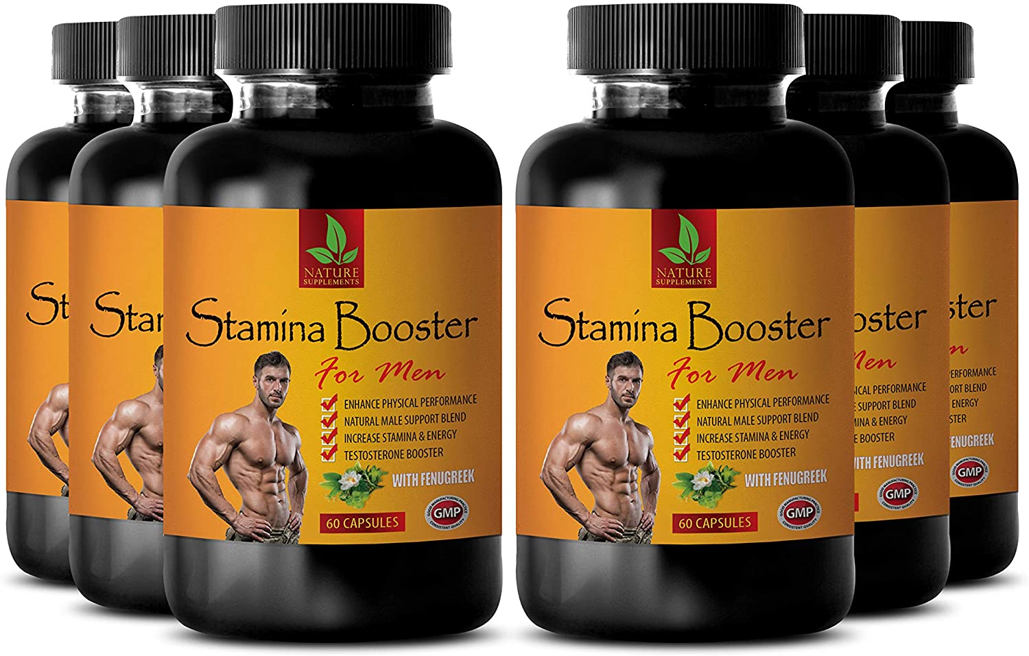 Boost Athletic Performance - Muscle Building Supplements for Men - Stamina Booster for Men with Fenugreek - Horny Goat Weed Dietary Supplement - maca Extract Capsules - 6 Bottles 360 Capsules