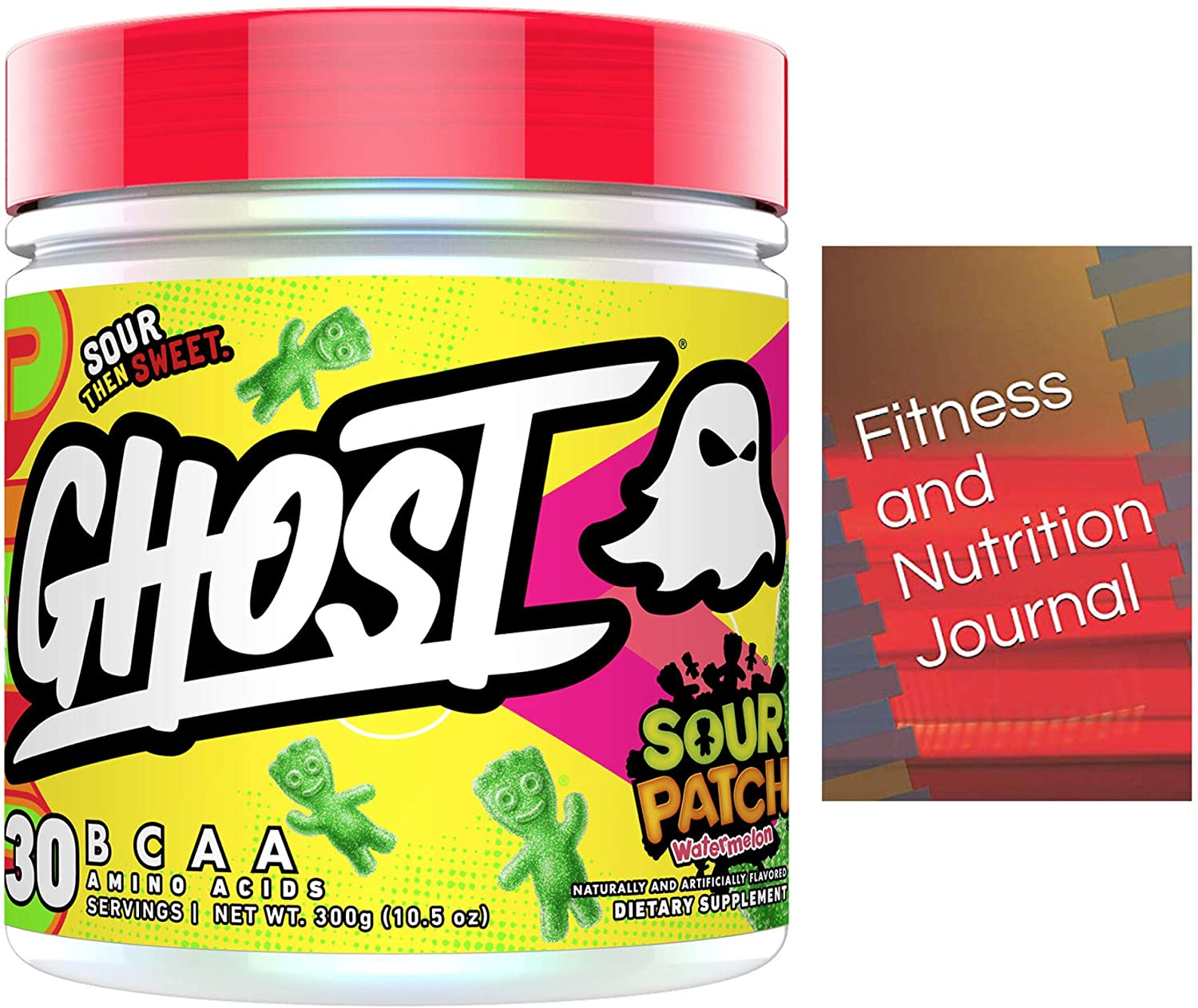 Ghost BCAA Amino Acids - Sour Patch Watermelon - Bundled with Fitness & Nutrition Journal