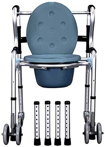 NDW Portable Bathroom Chair Commode Chair, Mobile WC Toilet Chair Adjustable Height Wheeled Brakes 0410