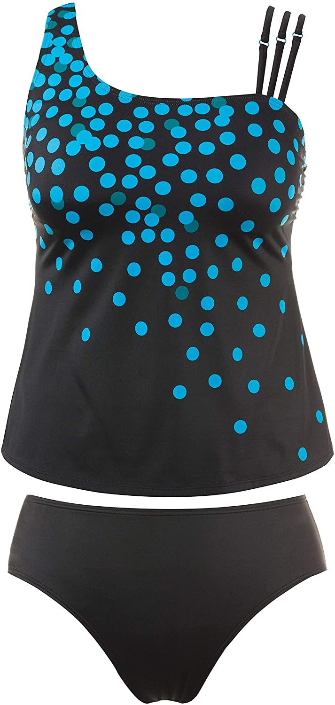 Ulla Popken Womens Plus Size Confetti Dot Asymmetric Tankini Set 711896