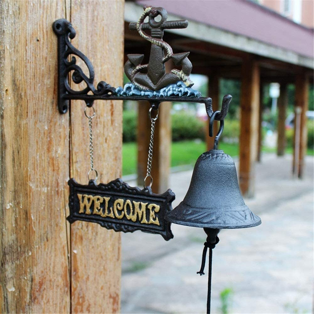 Vintage Decorative Doorbell Cast Iron Hanging Doorbell Decoration And Wall Bracket Traditional Style Rustic Door Bell Dinner Bell Wind Chime Hanging For Outside Bar Coffee Shop Decorative Garden Antiq