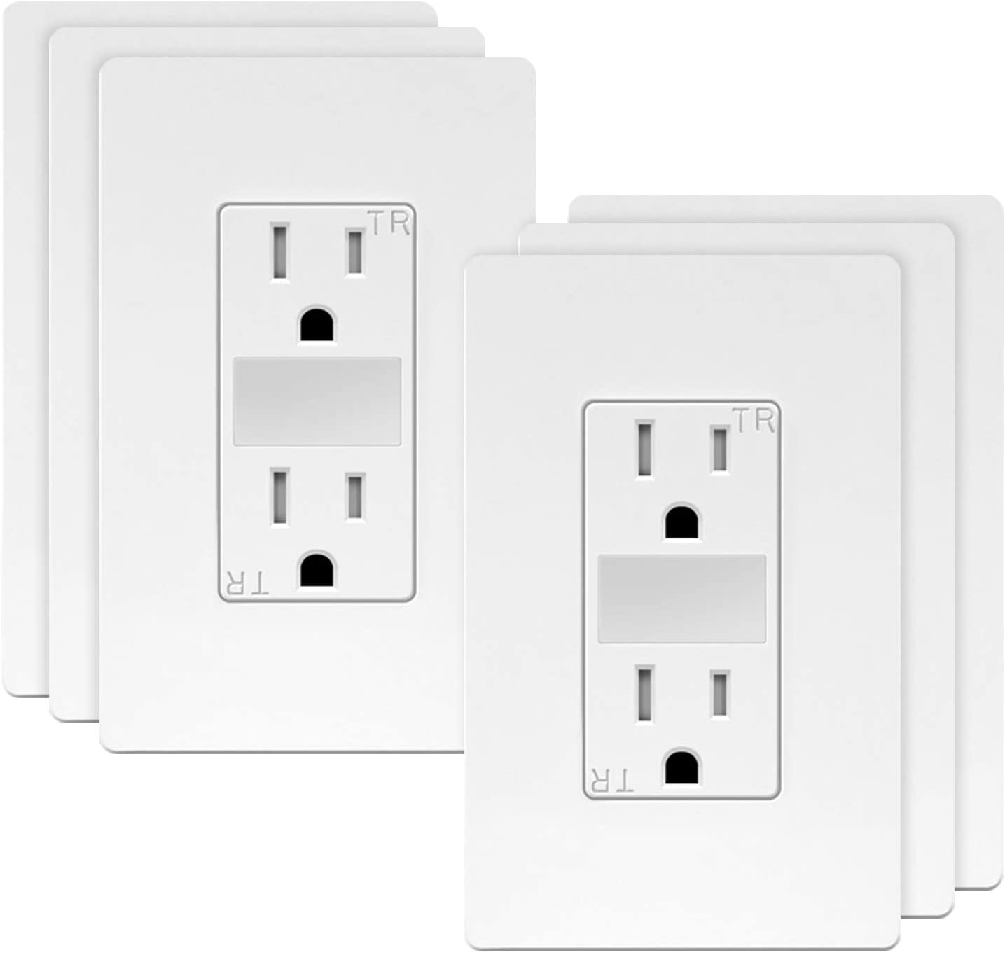 TOPGREENER LED Guide Light Receptacle, Automatic Night/Day Sensor Decorator Duplex Outlet Combination, 125VAC/15A Tamper-Resistant Receptacle, White Screwless Wall Plate Included, TG215TRGL (6 Pack)