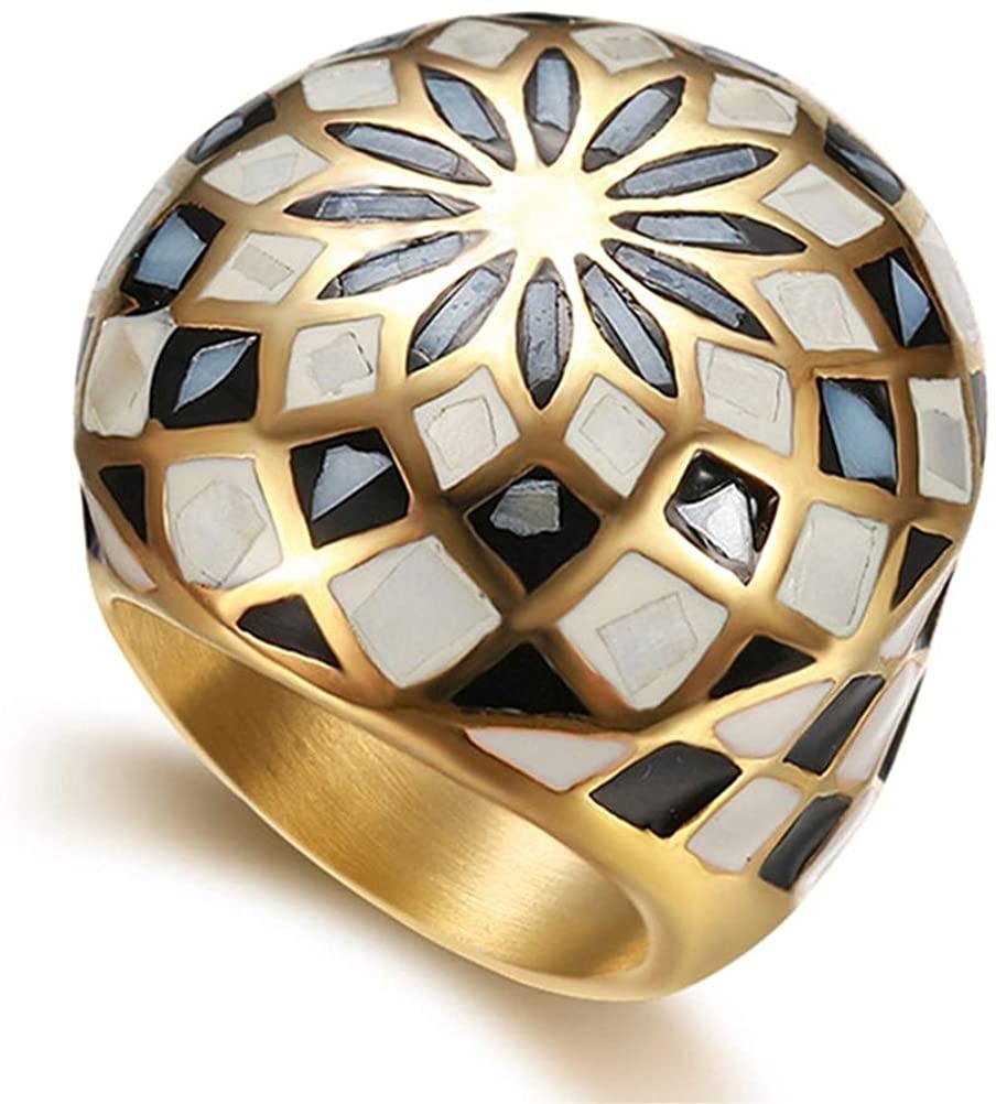 Junmer Women's Diamond Pop Exaggerated Natural Shell Women Stainless Steel Rings