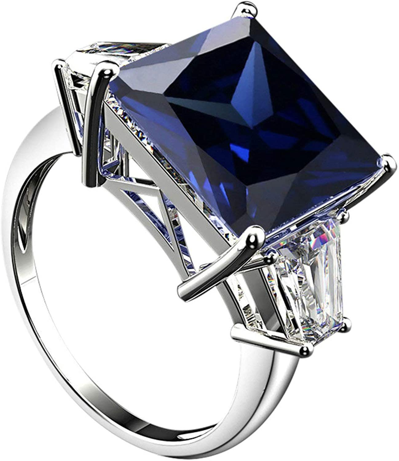 AMDXD 925 Silver Ring for Women Princess Cut Light Blue Cubic Zirconia 12x12mm Wedding Band Her